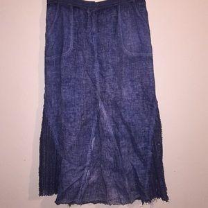 "XCVI Blue ""Denim"" Gauze & Lace Maxi Skirt MED"